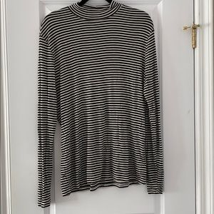 Black and white stripped mock neck top